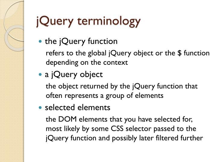 jQuery terminology