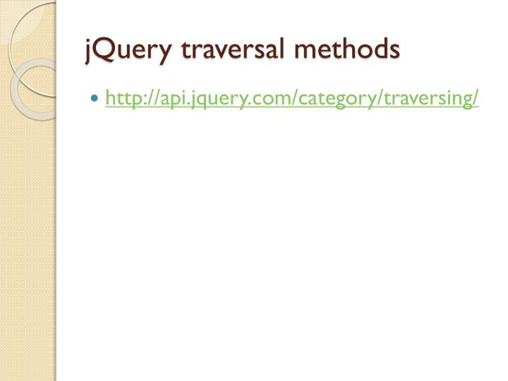 jQuery traversal methods
