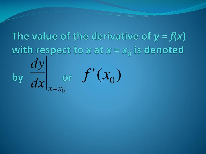 The value of the derivative of