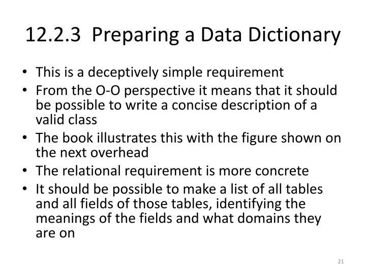 12.2.3  Preparing a Data Dictionary