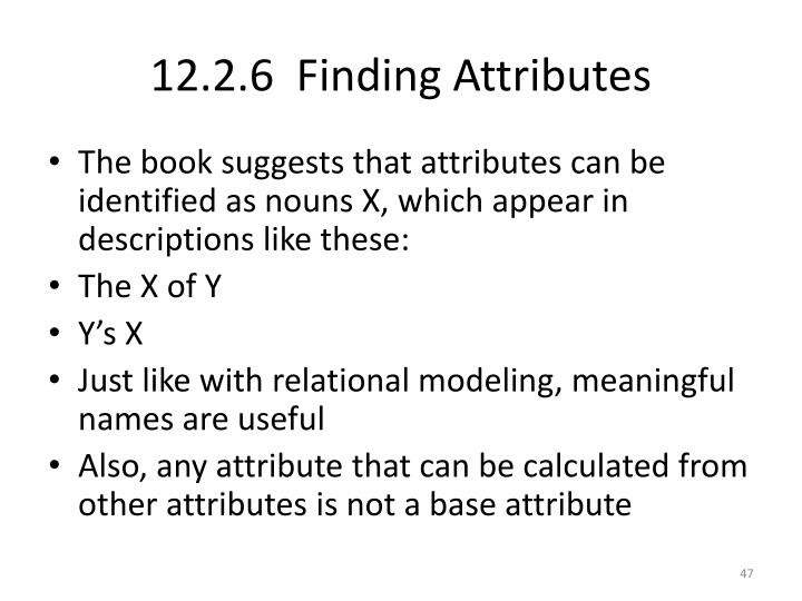 12.2.6  Finding Attributes