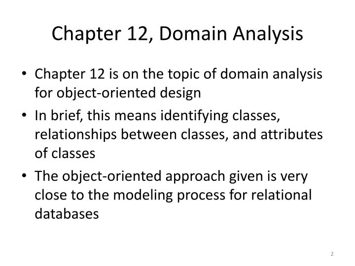 Chapter 12 domain analysis