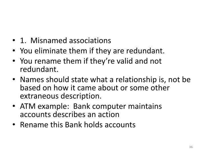 1.  Misnamed associations