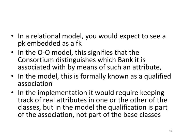 In a relational model, you would expect to see a