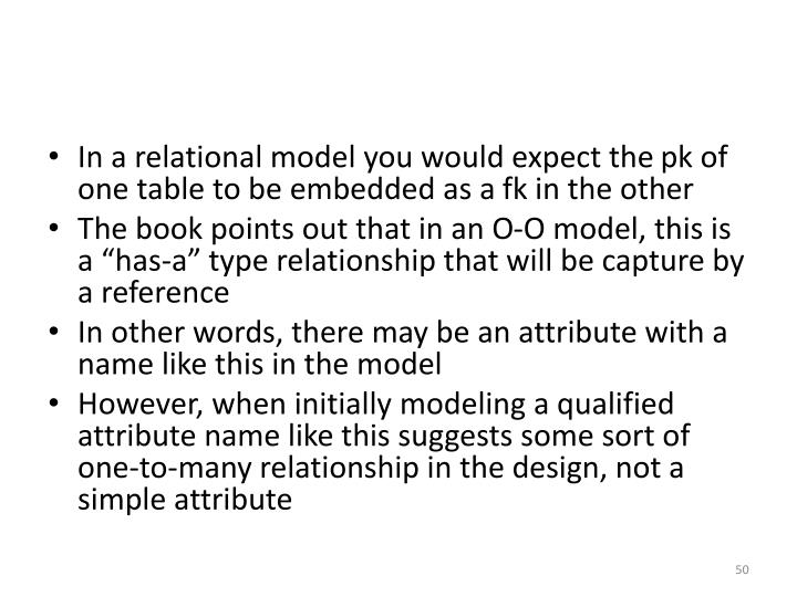 In a relational model you would expect the