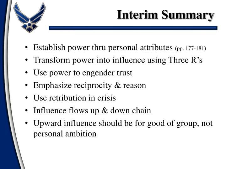 Interim Summary