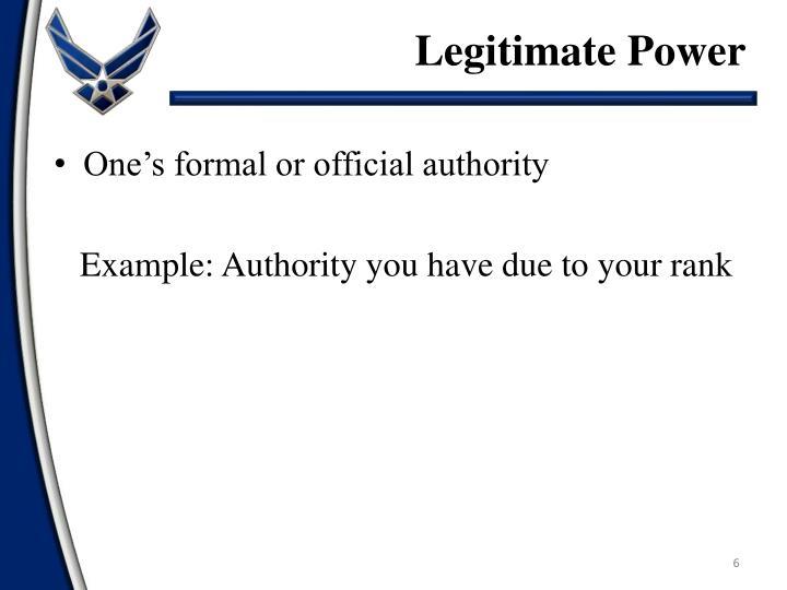 Legitimate Power