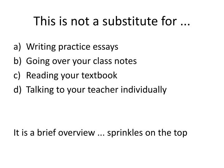 This is not a substitute for ...