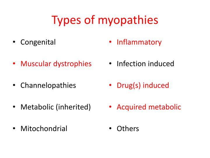 Types of myopathies