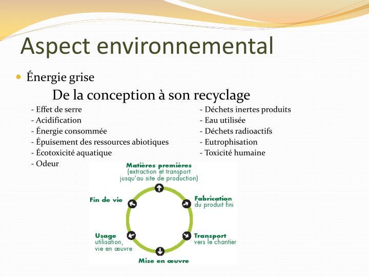 Aspect environnemental
