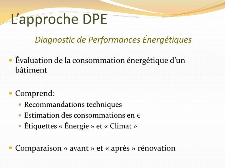 L'approche DPE