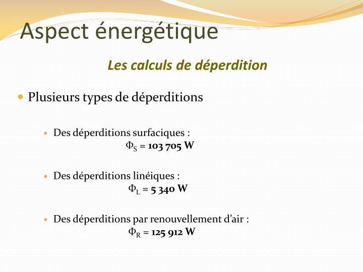 Aspect énergétique