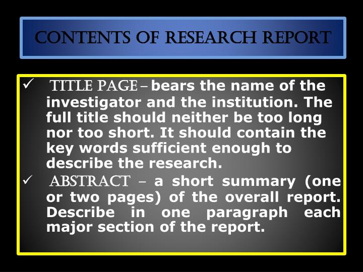 Contents of Research Report
