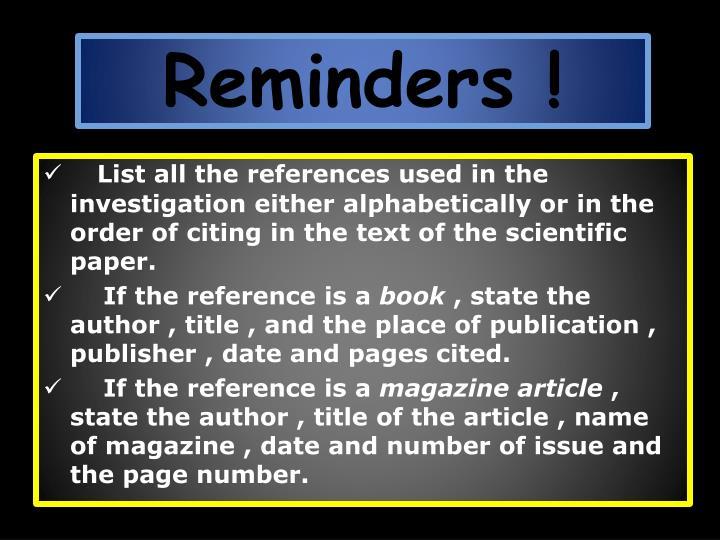Reminders !