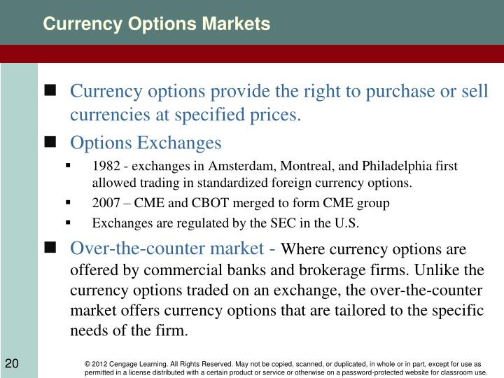 Currency Options Markets