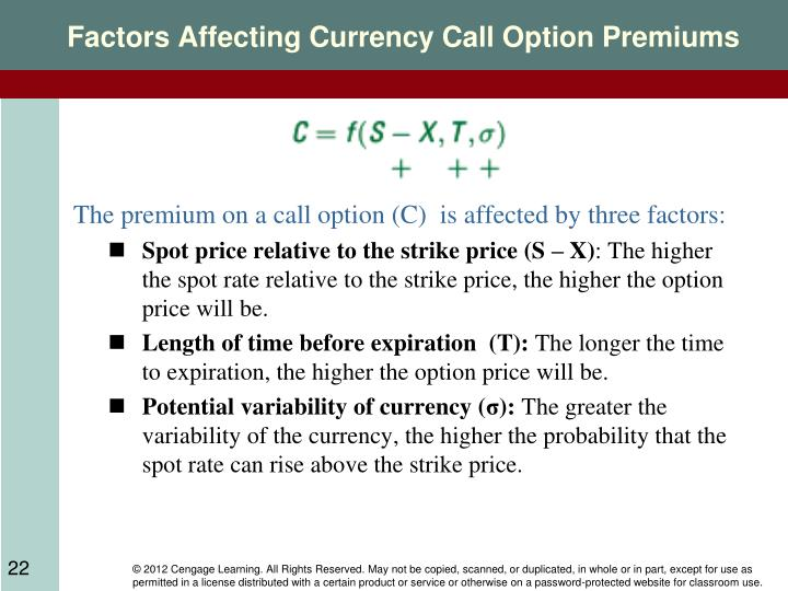 Factors Affecting Currency Call Option Premiums