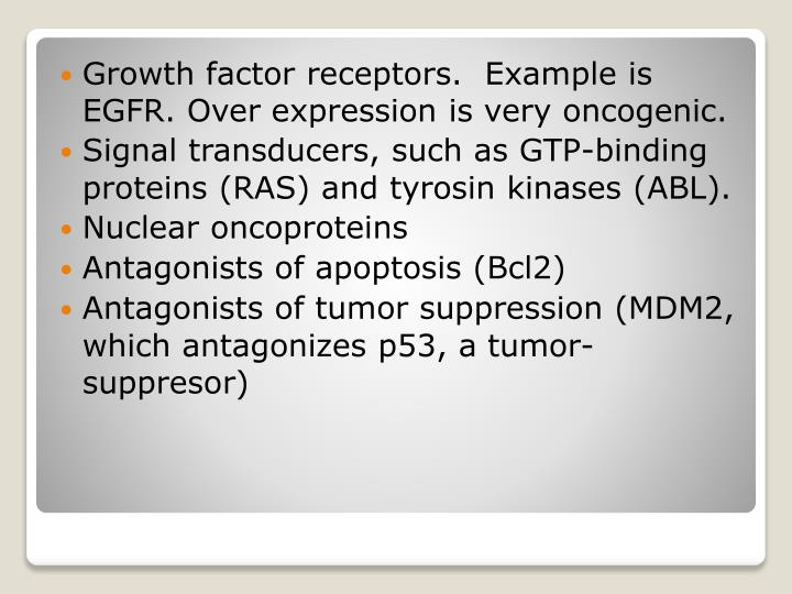 Growth factor receptors.  Example is EGFR.