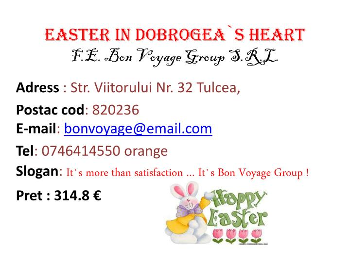 Easter in dobrogea s heart f e bon voyage group s r l