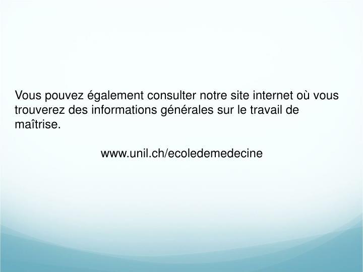 Vous pouvez également consulter notre site internet où vous trouverez des informations générales sur le travail de maîtrise.