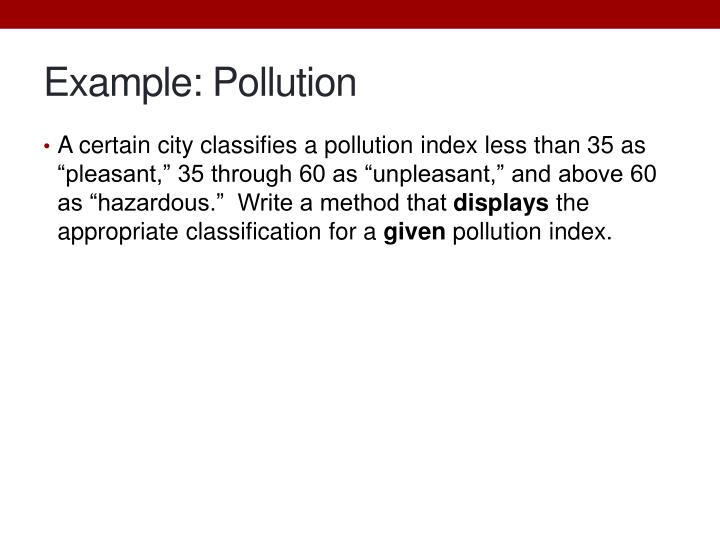 Example: Pollution