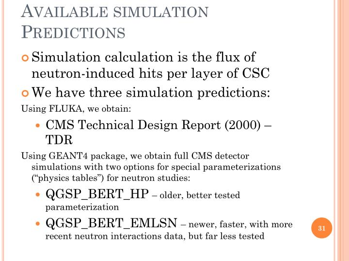 Available simulation Predictions