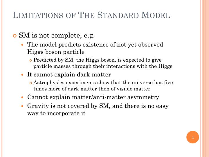 Limitations of The Standard Model