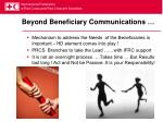 beyond beneficiary communications