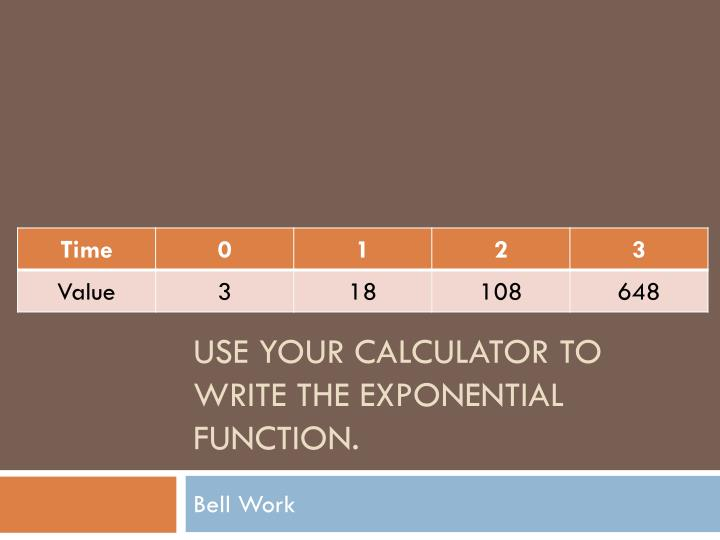 Use your calculator to write the exponential function