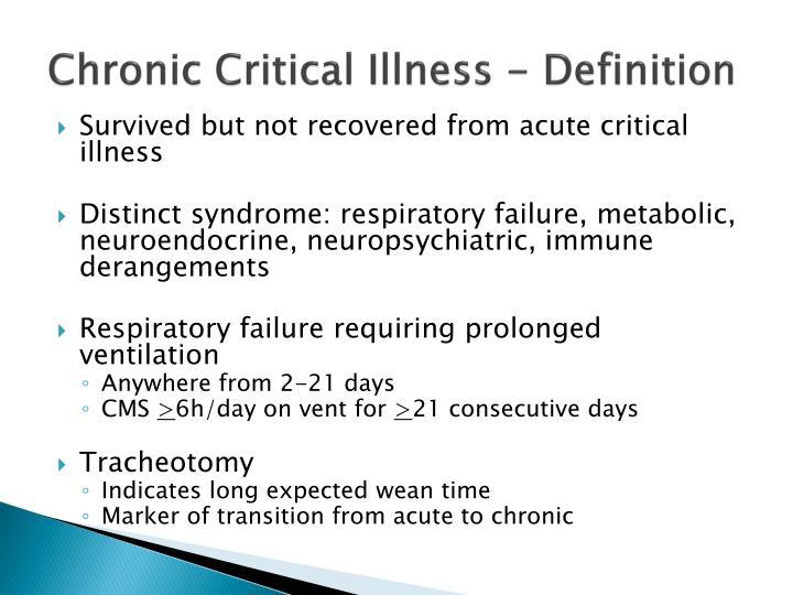 Chronic Critical Illness - Definition