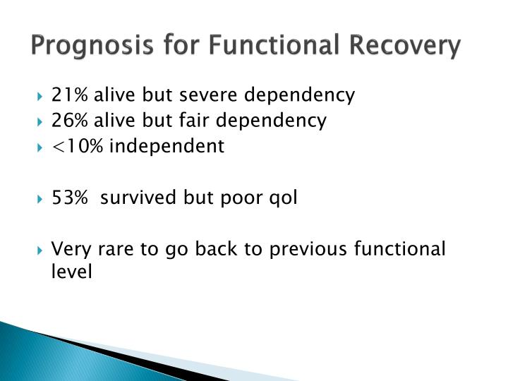 Prognosis for Functional Recovery