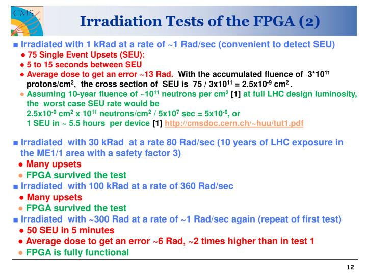 Irradiation Tests of the FPGA (2)