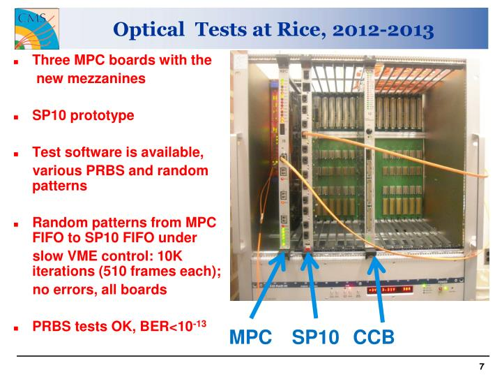 Optical  Tests at Rice, 2012-2013