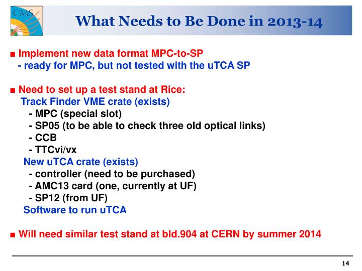 What Needs to Be Done in 2013-14