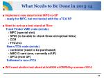 what needs to be done in 2013 14
