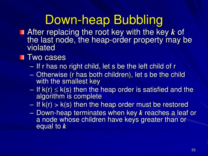 Down-heap Bubbling