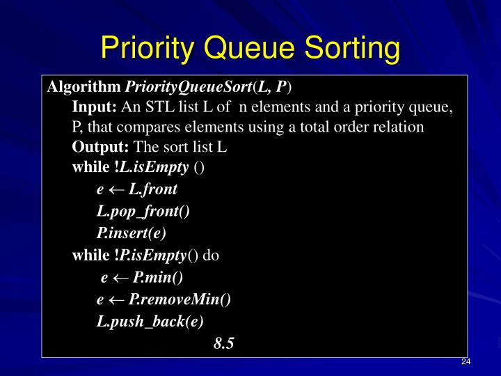 Priority Queue Sorting