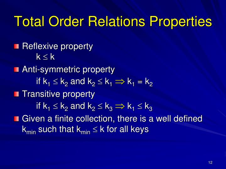 Total Order Relations Properties