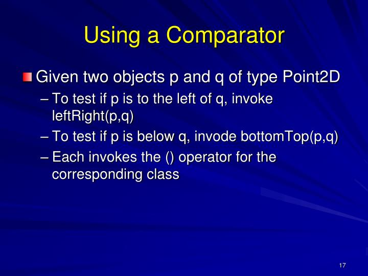 Using a Comparator