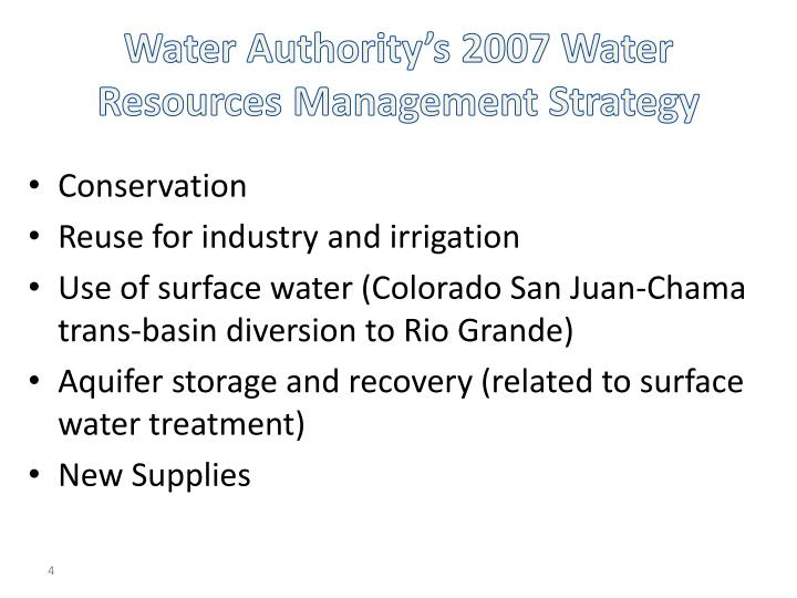 Water Authority's 2007 Water Resources