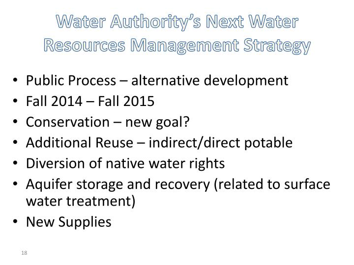 Water Authority's Next Water Resources