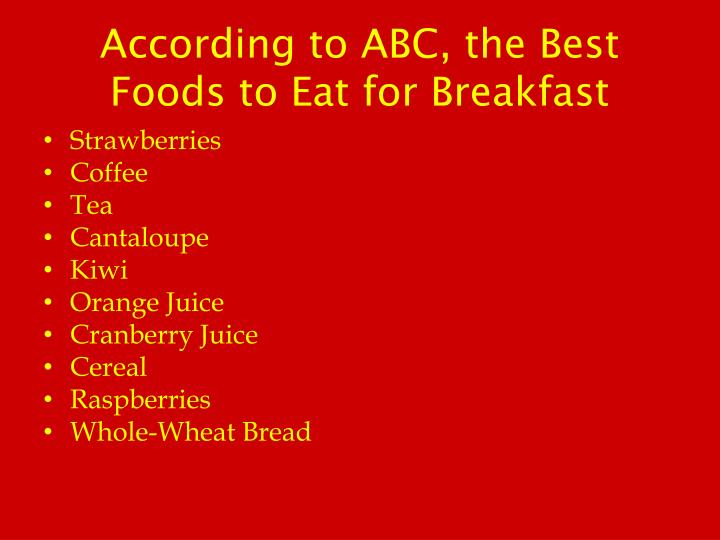 According to ABC, the Best Foods to Eat for Breakfast