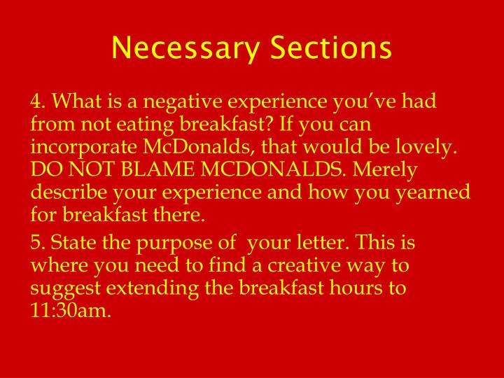 Necessary Sections