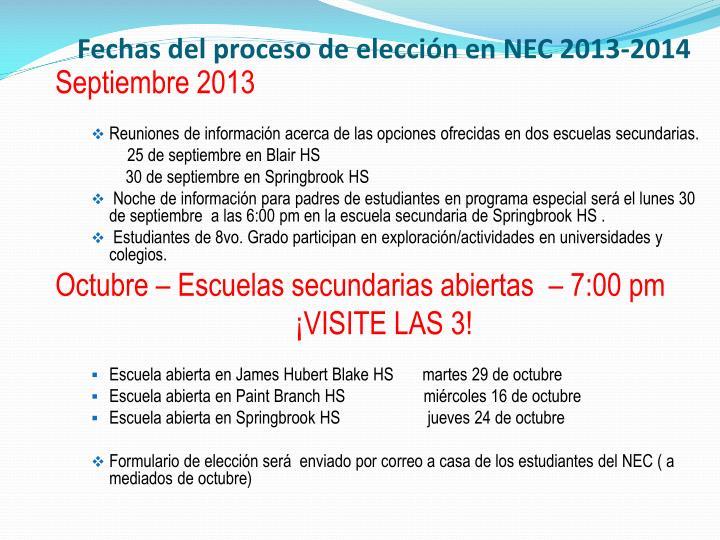 Fechas del proceso de elección en NEC