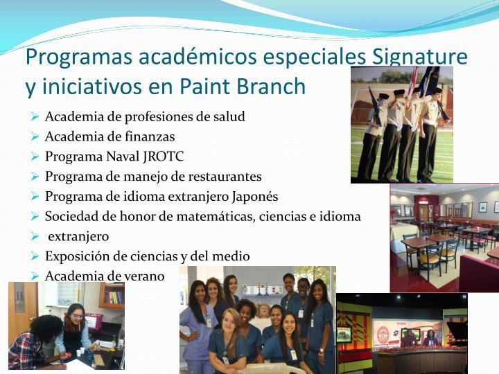 Programas académicos especiales