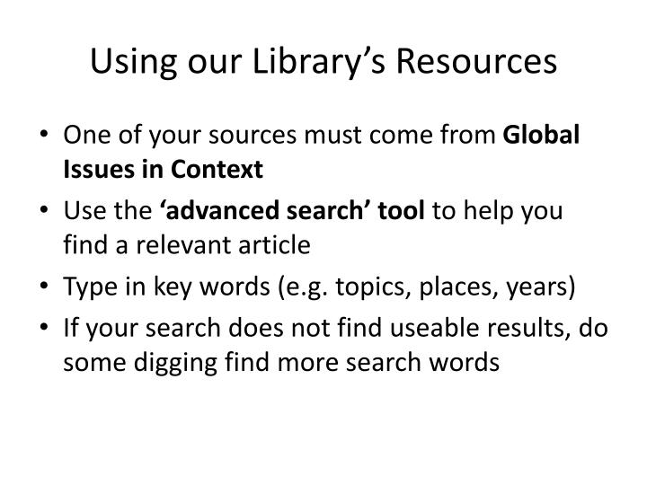 Using our Library's Resources