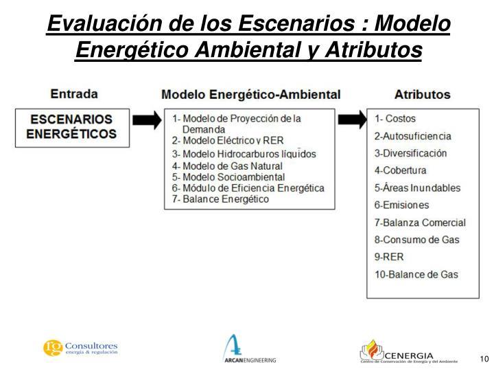 Evaluación de los Escenarios : Modelo Energético Ambiental y Atributos