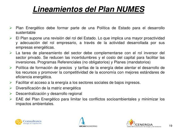 Lineamientos del Plan NUMES