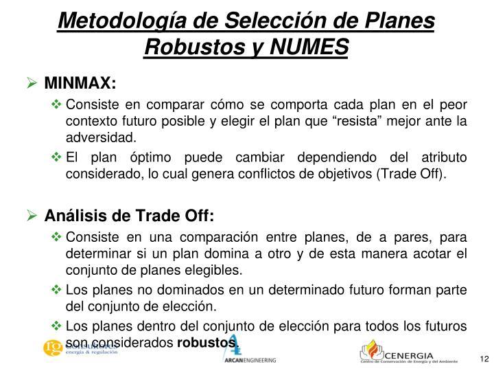 Metodología de Selección de Planes Robustos y NUMES