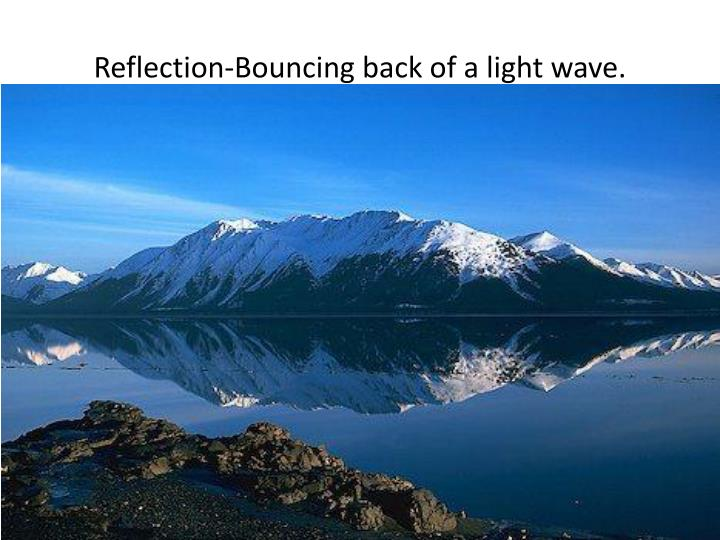Reflection-Bouncing back of a light wave.