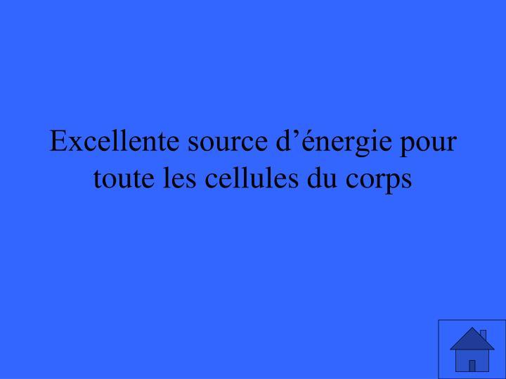 Excellente source d'énergie pour toute les cellules du corps